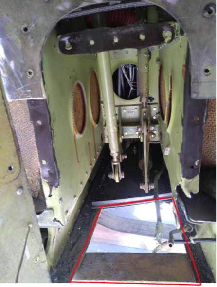 Nose damage – detail of under fuselage skin seen from front (red lines) – damaged part has been removed in the picture