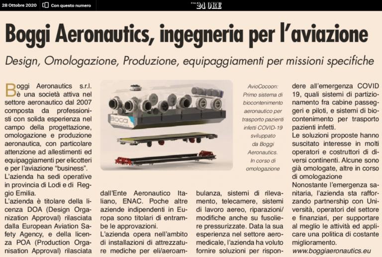 Boggi Aeronautics il sole 24 ore eccellenza aeronautica