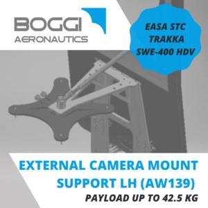 Boggi Aeronautics _ AW139 external camera mount LH payload 42,5 kg EASA STC Trakka Camera SWE-400 HDV