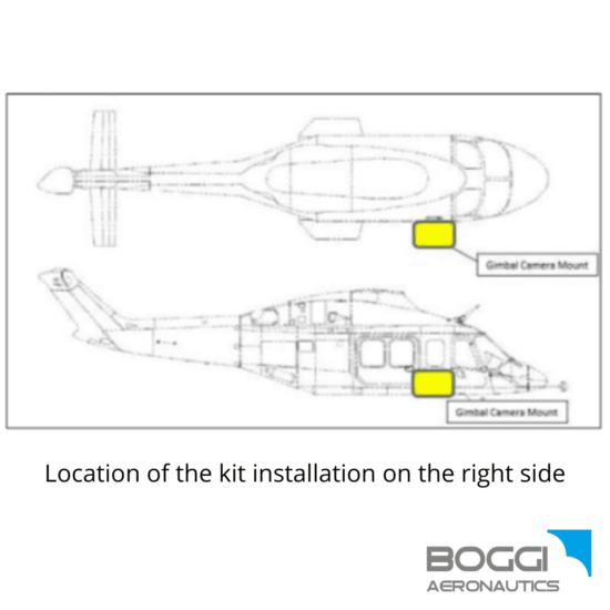 Boggi Aeronautics _ AW139 external camera mount RH payload 42,5 kg and 60 kg also EASA STC Trakka Camera SWE-400 HDV